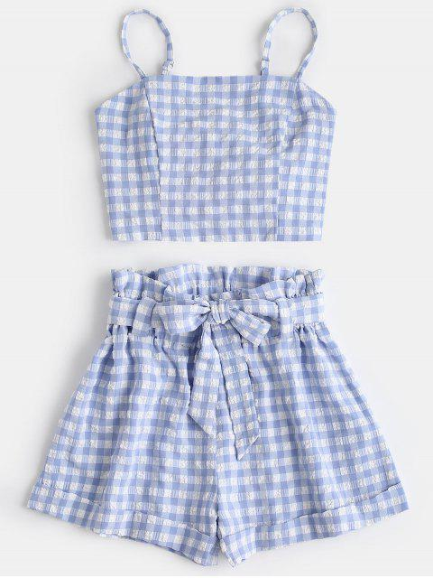latest Plaid Cami Top and Belted Shorts Set - LIGHT BLUE S Mobile