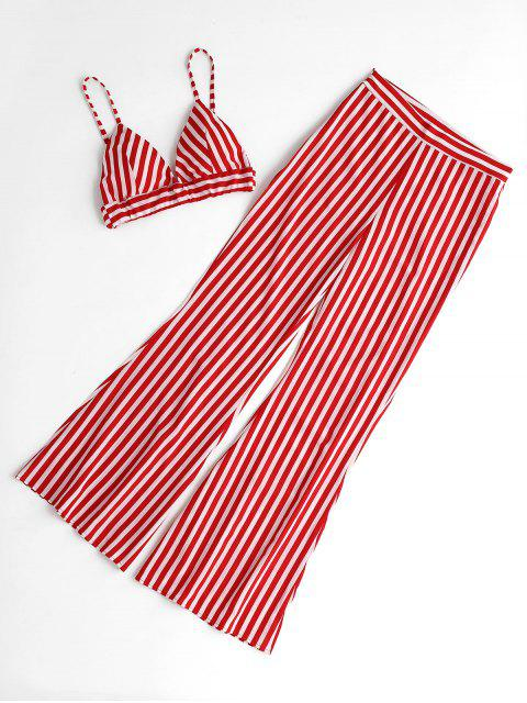Striped Cami Top y Loose Pants Set - Rojo L Mobile