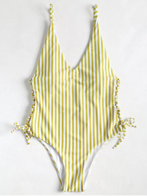 ladies Side Lace Up High Cut Striped Swimsuit - GOLDEN BROWN L Mobile