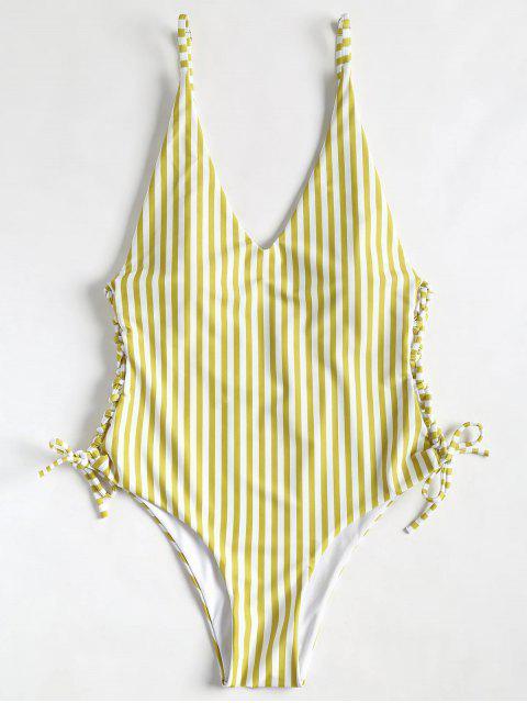 Seitliche Schnur gebunden hoch geschnittener gestreifter Badeanzug - Goldgelb L Mobile