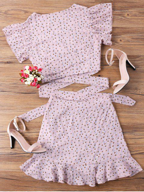 unique Wrap Top and Skirt Set - PINK M Mobile