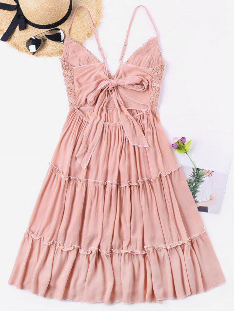 lady Crochet Empire Waisted Bowknot Back Dress - LIGHT PINK M Mobile