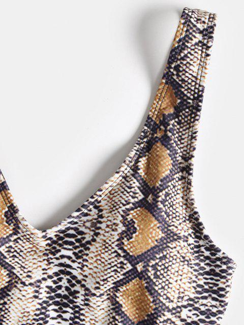 buy Snakeskin Print Thong Swimsuit - MULTI-A L Mobile