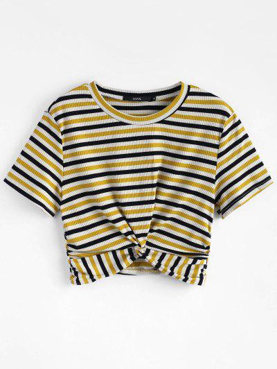 Striped Twist Knitted Tee - Multi M