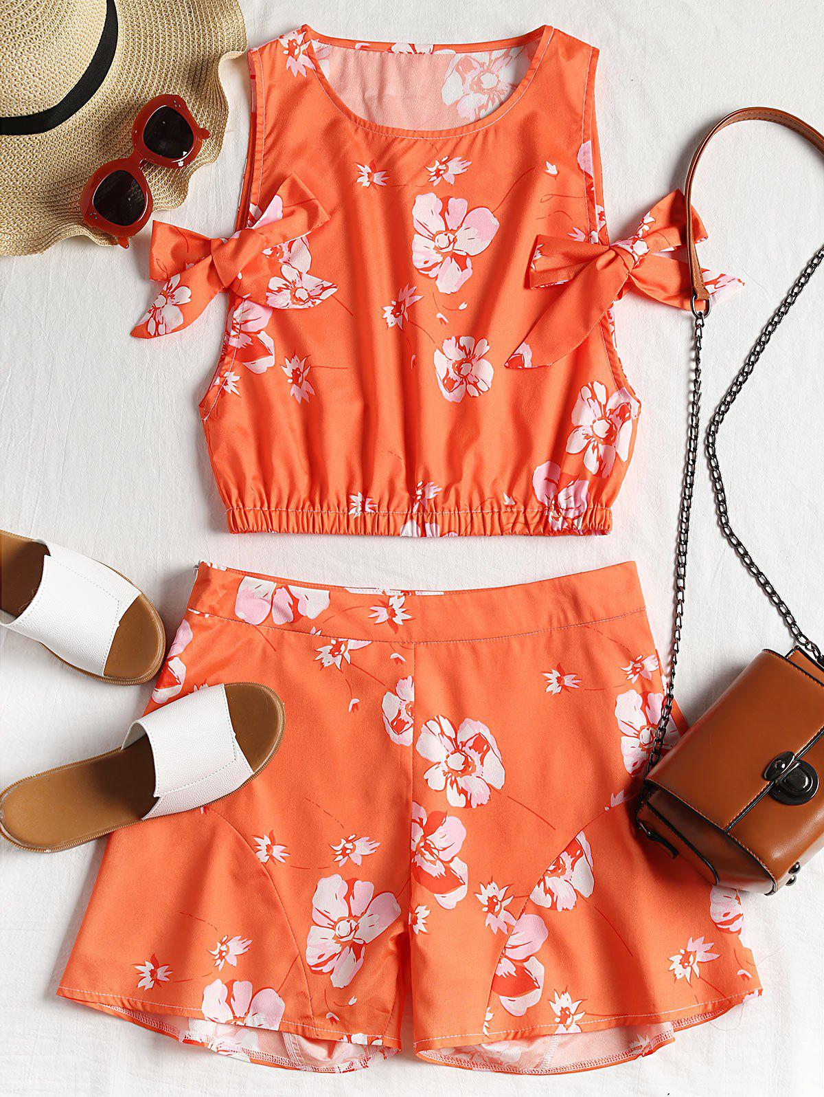 Floral Crop Top and High Waisted Shorts Set