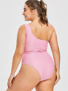 97f424082340f 55% OFF  2019 Plus Size Gingham High Leg Swimsuit In LIGHT PINK