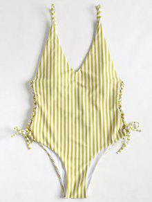 الجانب الرباط حتى ارتفاع قطع مخطط ملابس السباحة - بني ذهبي L