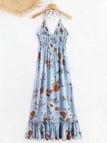 Vestido Azul De Jeans Volantes De Verano Con S Halter SwxqSfrX