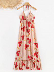 Vestido Florales Halter Volantes De Multicolor L Con rwCqrTxa