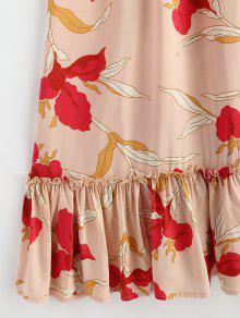 Florales Halter Con Multicolor De L Volantes Vestido qIUx575