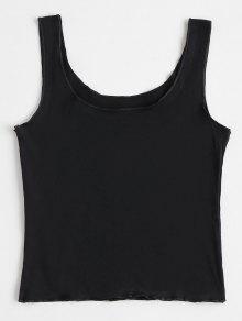 S Sin Negro Plain Mangas U Neck Camiseta 7Zx4q