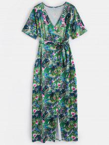 فستان ماكسي طباعة الأزهار انقسام - أخضر L