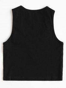 Camiseta Recortada Negro Ahuecada Sin S Mangas rwqxrSAa