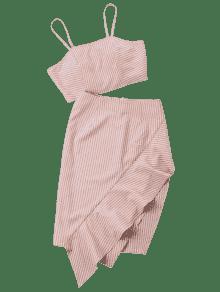 S Ruffle Skirt And Cami Top Striped Naranja xwqptvYtf