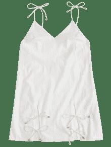 Blanco Espalda S Abierta Liso Vestido Cami Con wUO4zT
