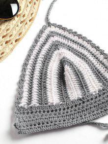 De Crochet A Top Gris Crochet En Rayas Corto qx5ZFwSn
