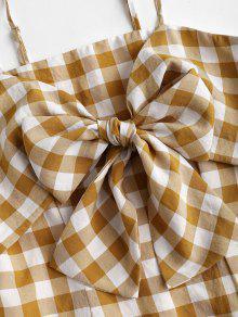 De S Con De Oro Anaranjado Correa Tela Escocesa Vestido Espagueti x4dwzFqx