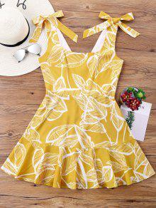 فستان بونوت طباعة عالية الخصر - أصفر فاقع M
