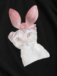 Negro Cat Cotton Camiseta Jersey Cotton w8qW10