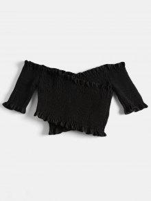 Negro Shoulder Shirred Top Crossover Off nfqSpIHR
