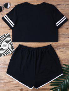 Piezas S Negro De Notch Contraste Conjunto Binding Shorts Dos OqYnRw6S