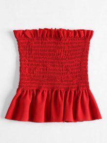 Ruffles Tube Shirred Rojo Ruffles Tube Top Rojo Shirred Top 4wFHqH
