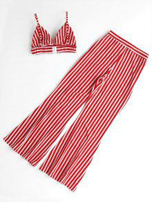 Pants Set S Loose Cami Top Y Rojo Striped pqIOSS