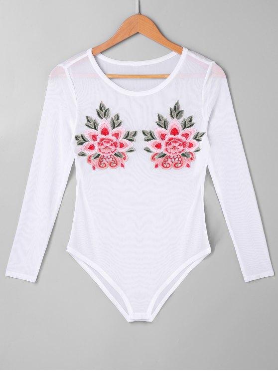 زهري مطرز شبكة ارتداءها - أبيض L