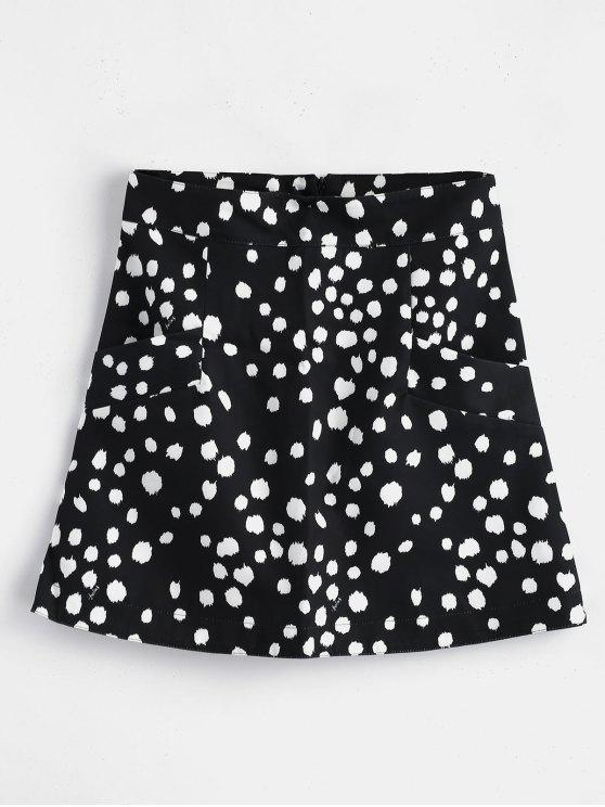 Polka Dot Mini Skirt With Pockets