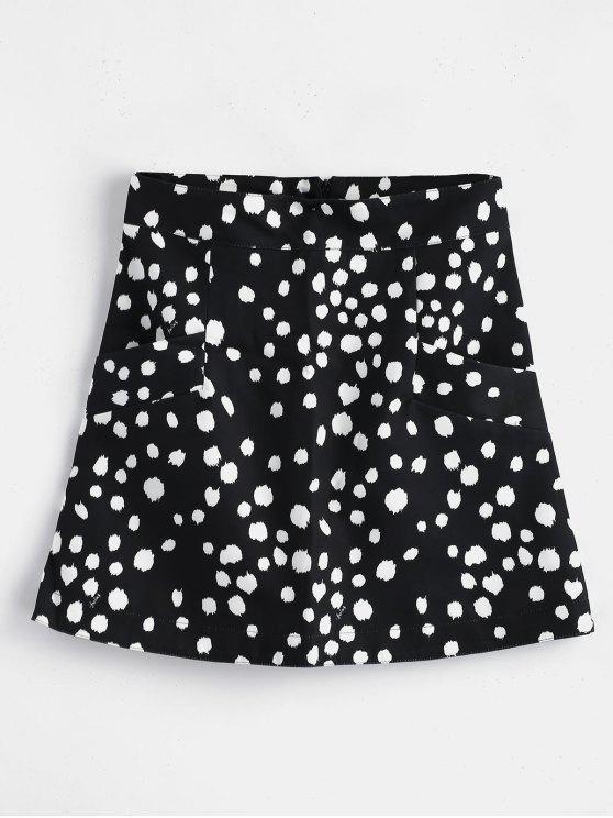 Mini-saia de bolinhas com bolsos - Preto L