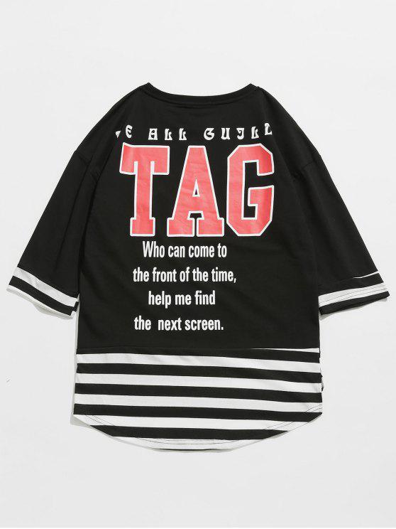 Gestreiftes Buchstaben Muster-T-Shirt - Schwarz M