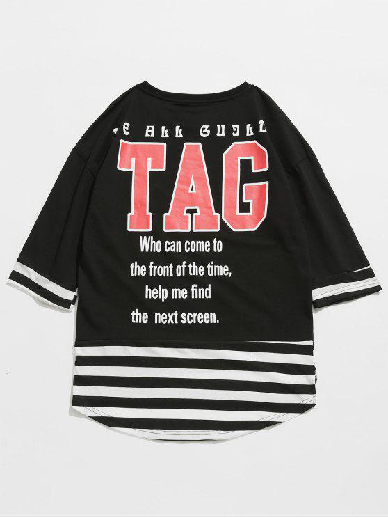 affordable Striped Letter Pattern T-shirt - BLACK XL