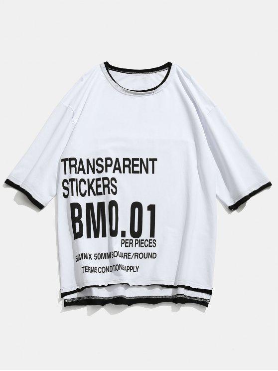 new Letter Pattern Raw Hem T-shirt - WHITE M