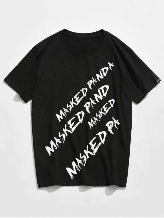 new Letter Printed Short Sleeves T-shirt - BLACK 2XL