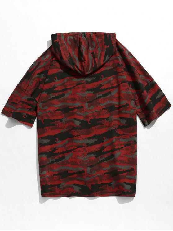 Drop Camo Red Hooded Slit Tee Shoulder M ZBEqUxwEa