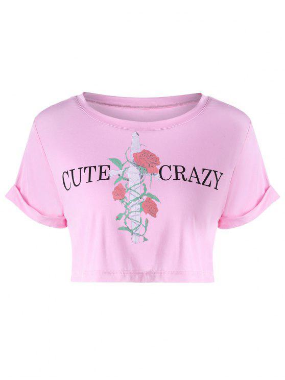 Camiseta corta con estampado de manga corta - Multicolor-A S