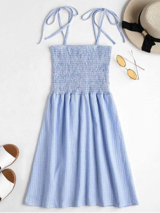 women Tie Straps Striped Shirred Mini Dress - SEA BLUE M