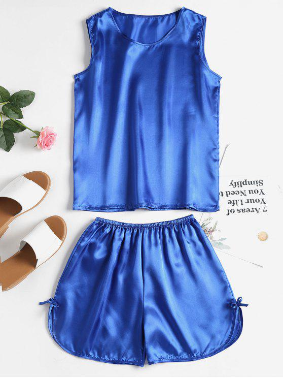 affordable Comfy Satin Sleepwear Set - STEEL BLUE M