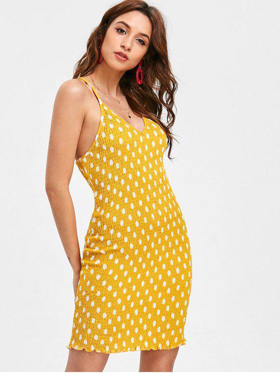 new Smocked Polka Dot Mini Dress - BRIGHT YELLOW S