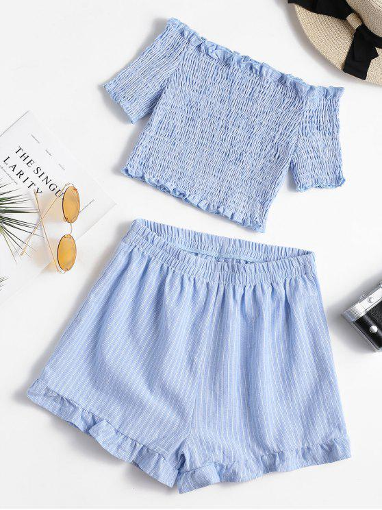 Smocked Schulterfreies Top Und Shorts Set - Meerblau XL