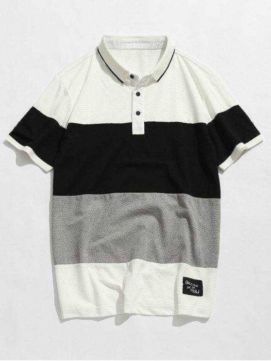 T-shirt à manches courtes colorblock - Blanc XL