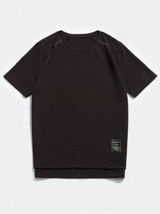 T-shirt ras du cou à manches courtes raglan - Café profond XL