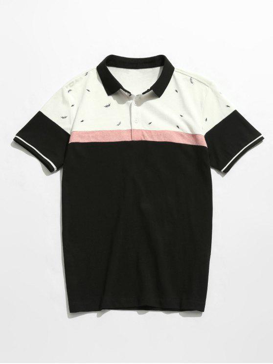 T-shirt en coton imprimé à blocs de couleur - Noir 4XL