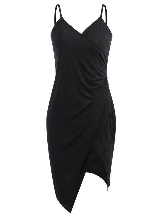 ladies Spaghetti Strap Ruched Asymmetric Bodycon Dress - BLACK XL
