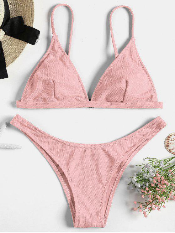 5507a67d807ce 18% OFF] 2019 Textured Padded Bikini Sets In PINK BUBBLEGUM L | ZAFUL