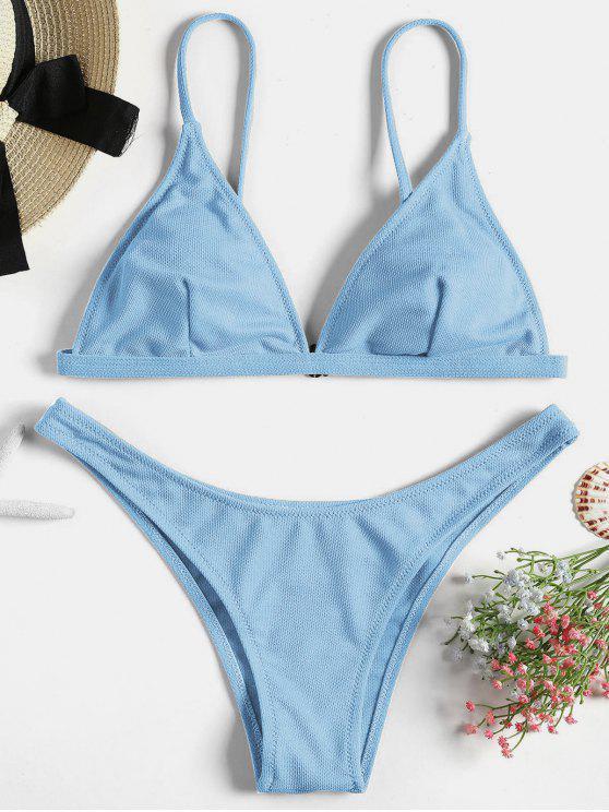 Conjuntos de bikini acolchado con textura - Celeste M