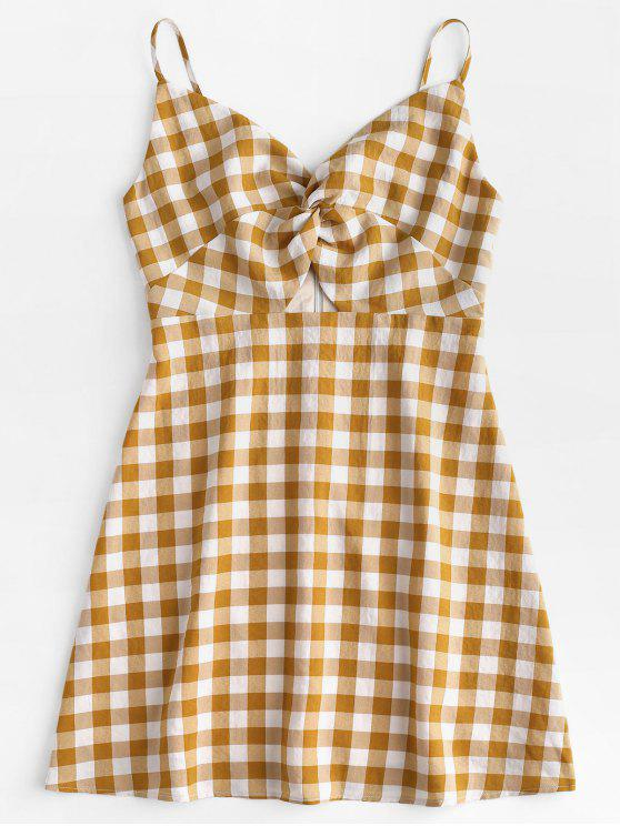 outfits Twisted Plaid Cami Dress - ORANGE GOLD L