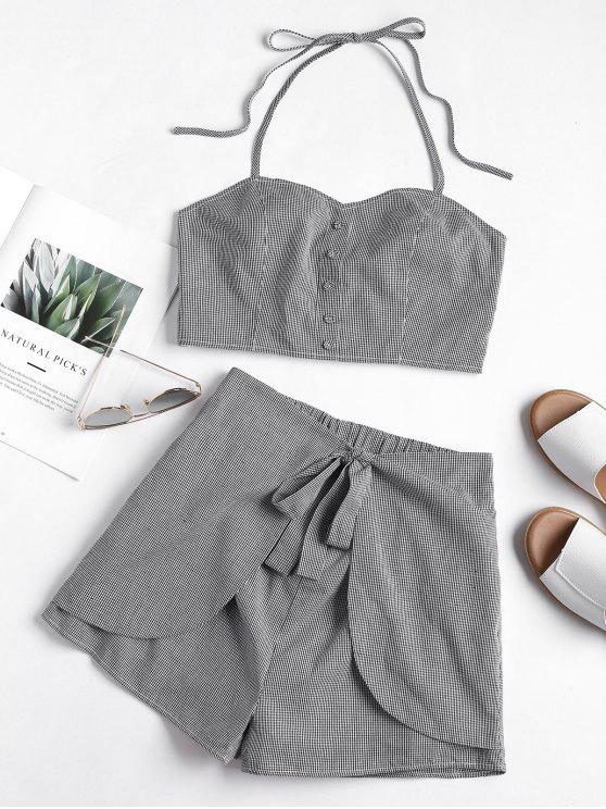 trendy Gingham Smocked Halter Top and Shorts Set - BLACK S