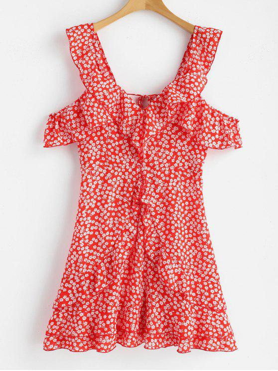 affordable Floral Print Ruffles Backless Dress - RED M