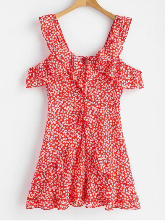 Vestido sin espalda volantes de estampado floral - Rojo L